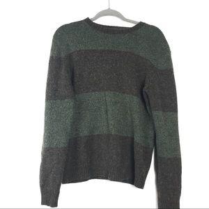AEO Green Brown Striped Wool Blend Soft Sweater M